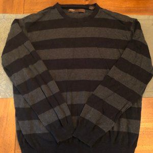 Perry Ellis Black and Gray Striped Sweater - XL